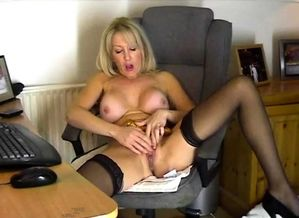 Enormous fun bags mature chick in..