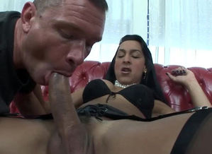 Guy  and jerks a phat shaft t-girl
