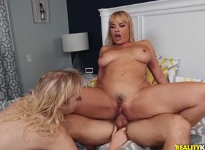 Kinky 3some with mom, stepdaughter and..