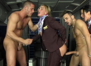 Bum-fucked CFNM stewardess joins mile..