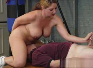 Stacked girl student gives her coach a..