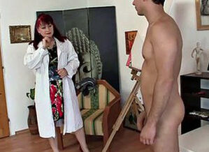 Horny grandmother games with young lady